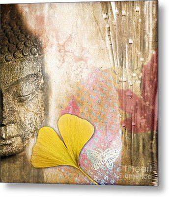 Vintage Buddha And Ginkgo Metal Print by Delphimages Photo Creations