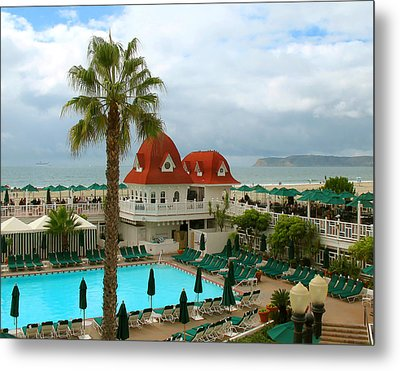 Vintage Cabana At The Del Metal Print by Connie Fox
