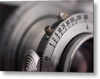 Vintage Camera Shutter Adjustment Closeup Metal Print by Kevin Grant