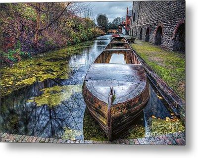 Vintage Canal Boat Metal Print by Adrian Evans