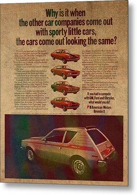 Vintage Car Advertisement American Motors Gremlin Ad Poster On Worn Faded Paper Metal Print