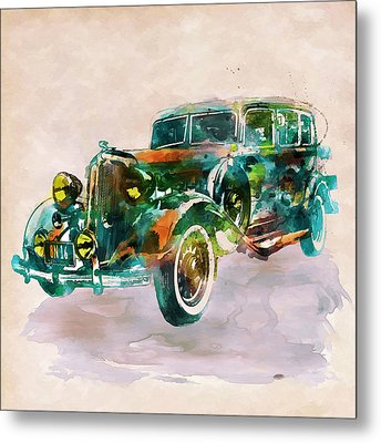 Vintage Car In Watercolor Metal Print by Marian Voicu