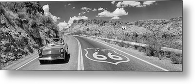 Vintage Car Moving On The Road, Route Metal Print