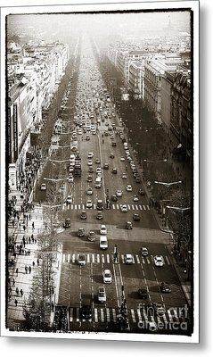 Vintage Champs Elysees Metal Print by John Rizzuto