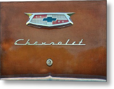 Vintage Chevrolet Emblem On Trunk Metal Print by Cat Whipple