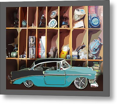 Vintage Chevy Belair With Retro Auto Parts Metal Print