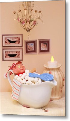 Vintage Christmas Elf Bubble Bath Metal Print