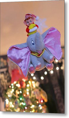 Vintage Christmas Elf Flying With Dumbo Metal Print