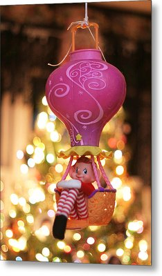 Vintage Christmas Elf Hot Air Balloon Ride Metal Print