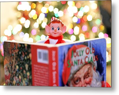 Metal Print featuring the photograph Vintage Christmas Elf Reading A Book by Barbara West