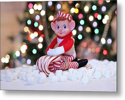 Metal Print featuring the photograph Vintage Christmas Elf Sliding by Barbara West