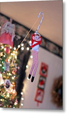 Metal Print featuring the photograph Vintage Christmas Elf Zipline by Barbara West