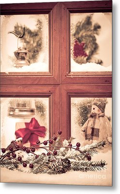 Vintage Christmas Window Metal Print