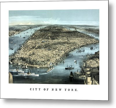 Vintage City Of New York Metal Print by War Is Hell Store