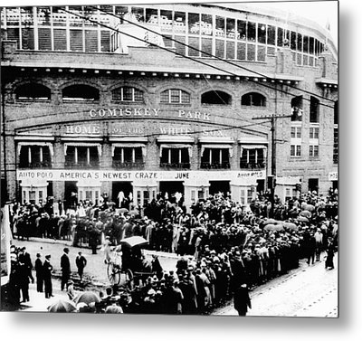 Vintage Comiskey Park - Historical Chicago White Sox Black White Picture Metal Print