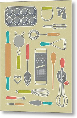 Vintage Cooking Utensils Metal Print