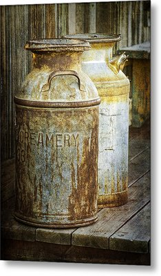 Vintage Creamery Cans In 1880 Town In South Dakota Metal Print by Randall Nyhof