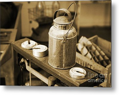 Metal Print featuring the photograph Vintage Creamery In Sepia by Lincoln Rogers