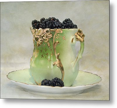 Vintage Cup O Berries Metal Print by Kathleen Holley