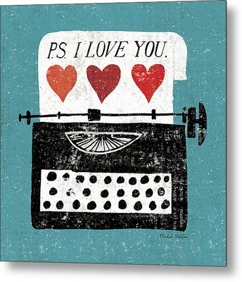 Vintage Desktop - Typewriter Metal Print by Michael Mullan
