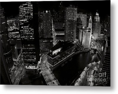 Vintage 2003  Downtown Chicago At Night Metal Print