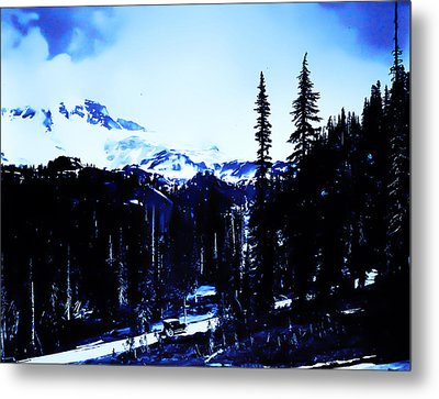 Metal Print featuring the photograph Vintage... Driving Up To Mount Rainier Early 1900 Era... by Eddie Eastwood