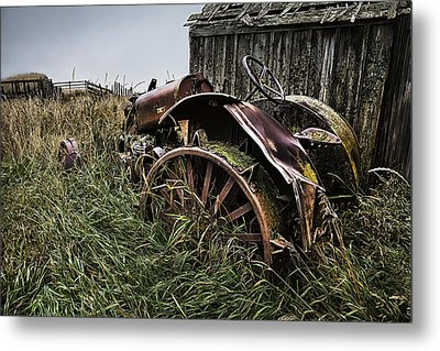 Vintage Farm Tractor Color Metal Print by Theresa Tahara