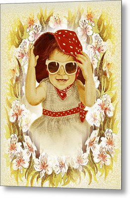 Metal Print featuring the painting Vintage Fashion Girl by Irina Sztukowski