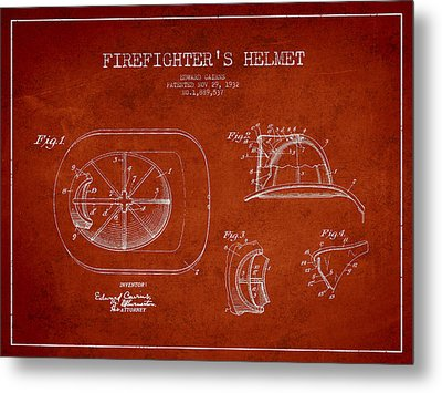 Vintage Firefighter Helmet Patent Drawing From 1932-red Metal Print