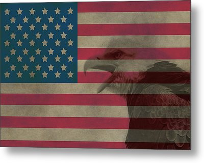 Vintage Flag With Bald Eagle Metal Print by Dan Sproul
