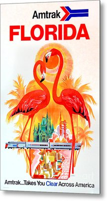 Vintage Florida Amtrak Travel Poster Metal Print