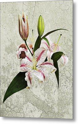 Vintage Flowers Metal Print by Lesley Rigg