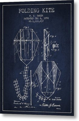 Vintage Folding Kite Patent From 1892 Metal Print by Aged Pixel