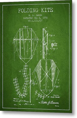 Vintage Folding Kite Patent From 1892 - Green Metal Print by Aged Pixel