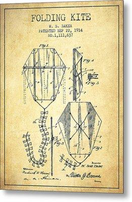 Vintage Folding Kite Patent From 1914 -vintage Metal Print by Aged Pixel