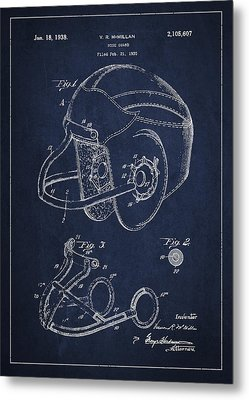 Vintage Football Helment Patent Drawing From 1935 Metal Print