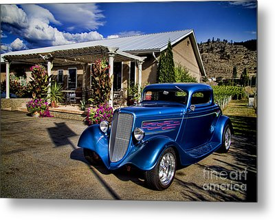 Vintage Ford Coupe At Oliver Twist Winery Metal Print by David Smith