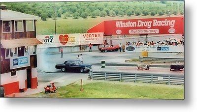 Vintage Ford Drag Racing Metal Print by Thomas  MacPherson Jr