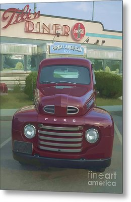 Vintage Ford Truck Outside The Tiltn Diner Metal Print by Edward Fielding