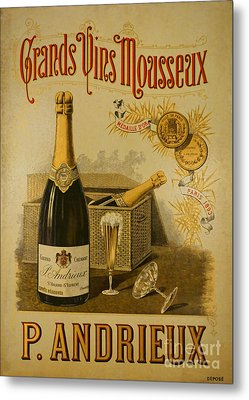 Vintage French Poster Andrieux Wine Metal Print by Olivier Le Queinec