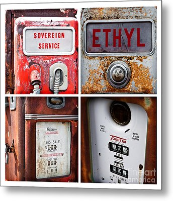 Vintage Fuel Pumps Collage Metal Print