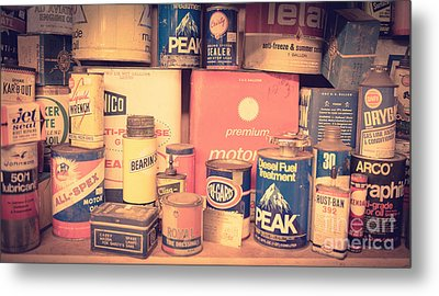 Vintage Gas Service Station Products Metal Print by Edward Fielding