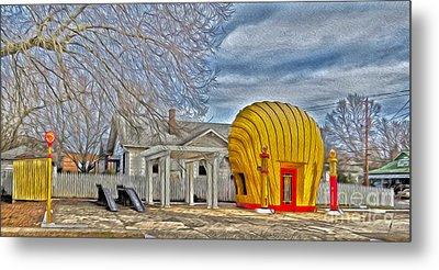Days Of Yesterday Gas Station Metal Print