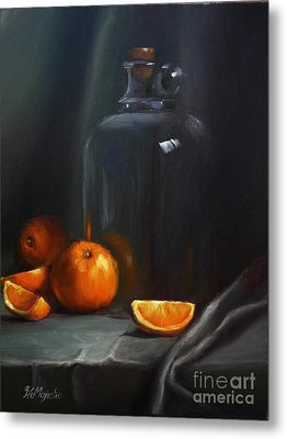 Vintage Glass Jug And  Oranges Metal Print