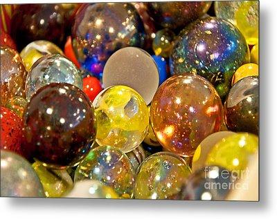 Vintage Glass Marbles Metal Print by Valerie Garner