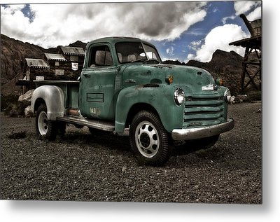 Vintage Green Chevrolet Truck Metal Print by Gianfranco Weiss