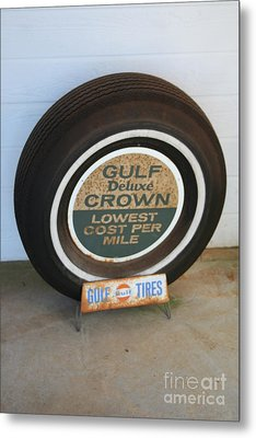 Metal Print featuring the photograph Vintage Gulf Tire With Ad Plate by Lesa Fine
