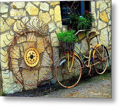 Antique Store Hay Rake And Bicycle Metal Print by ARTography by Pamela Smale Williams