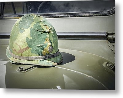 Vintage Helmet On Jeep Hood Metal Print