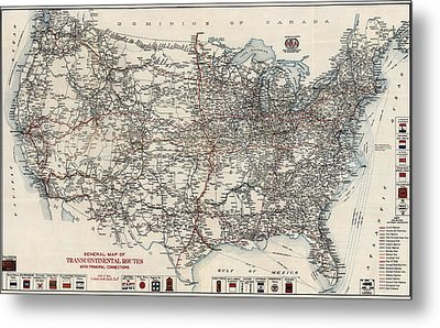 Vintage Highway Map Of The United States By The American Automobile Association - 1918 Metal Print by Blue Monocle
